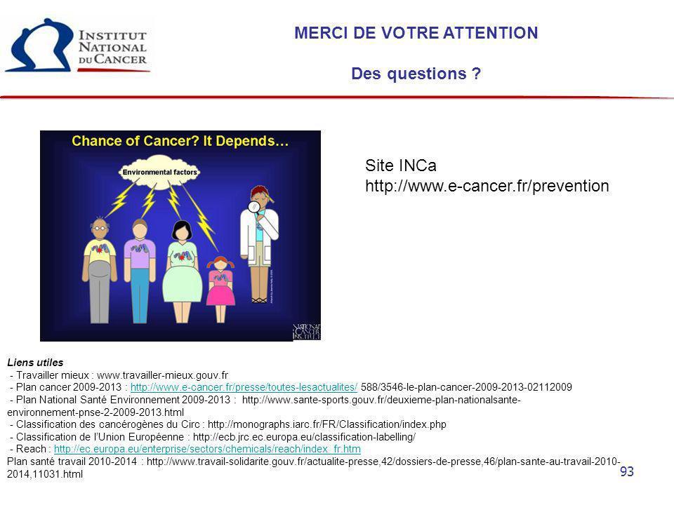93 MERCI DE VOTRE ATTENTION Des questions ? Liens utiles - Travailler mieux : www.travailler-mieux.gouv.fr - Plan cancer 2009-2013 : http://www.e-canc