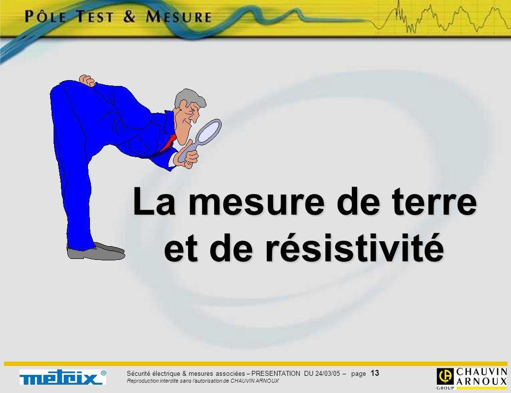 Sécurité électrique & mesures associées – PRESENTATION DU 24/03/05 – page 13 Reproduction interdite sans l'autorisation de CHAUVIN ARNOUX La mesure de