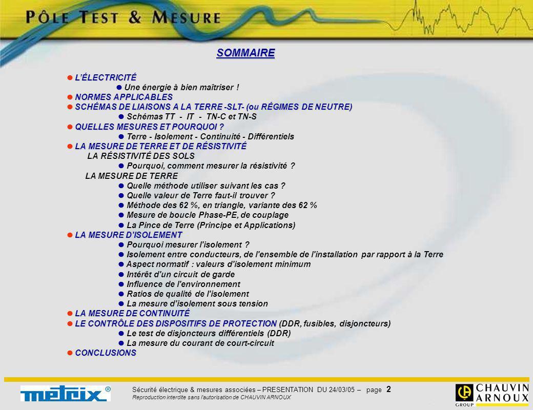Sécurité électrique & mesures associées – PRESENTATION DU 24/03/05 – page 2 Reproduction interdite sans l'autorisation de CHAUVIN ARNOUX SOMMAIRE LÉLE