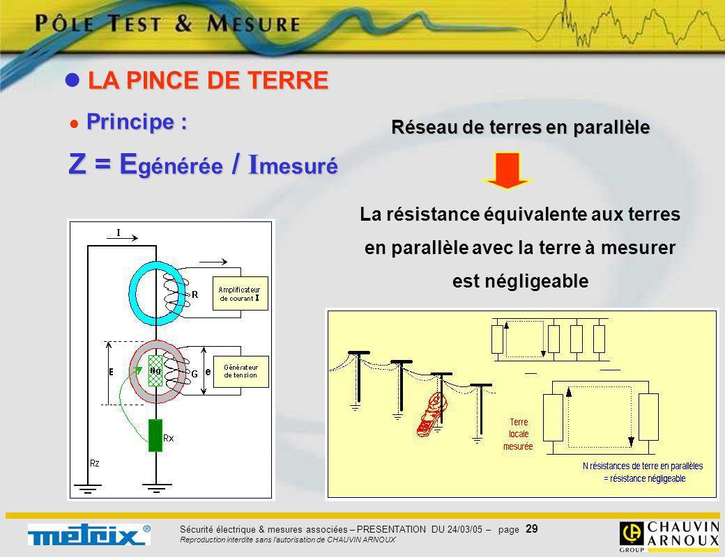 Sécurité électrique & mesures associées – PRESENTATION DU 24/03/05 – page 29 Reproduction interdite sans l'autorisation de CHAUVIN ARNOUX Principe : P