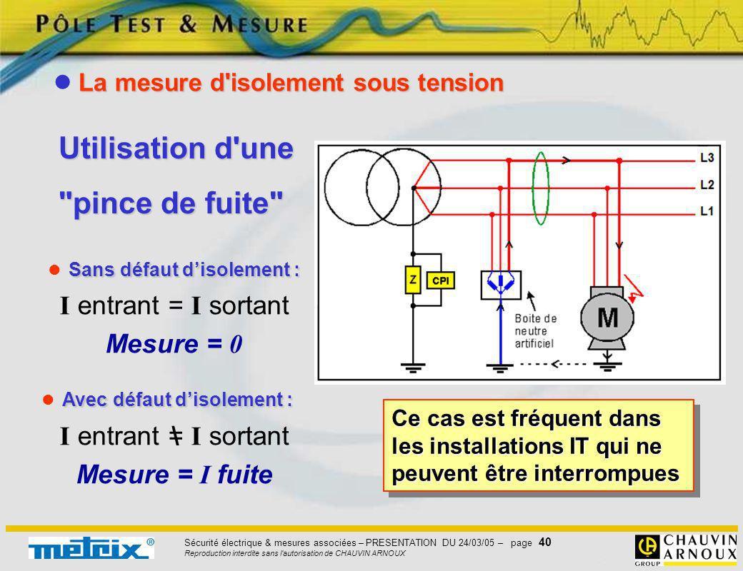 Sécurité électrique & mesures associées – PRESENTATION DU 24/03/05 – page 40 Reproduction interdite sans l'autorisation de CHAUVIN ARNOUX Ce cas est f