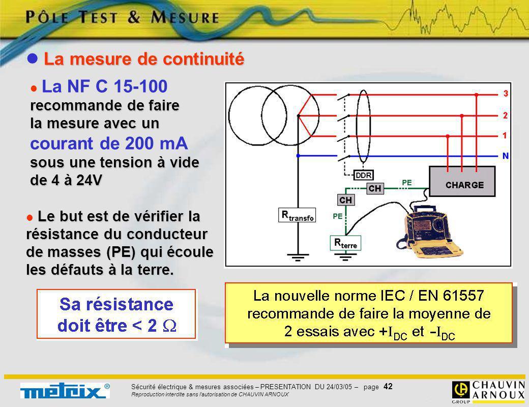 Sécurité électrique & mesures associées – PRESENTATION DU 24/03/05 – page 42 Reproduction interdite sans l'autorisation de CHAUVIN ARNOUX recommande d