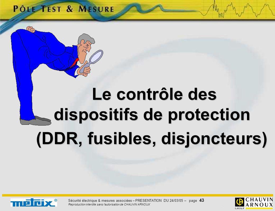 Sécurité électrique & mesures associées – PRESENTATION DU 24/03/05 – page 43 Reproduction interdite sans l'autorisation de CHAUVIN ARNOUX Le contrôle