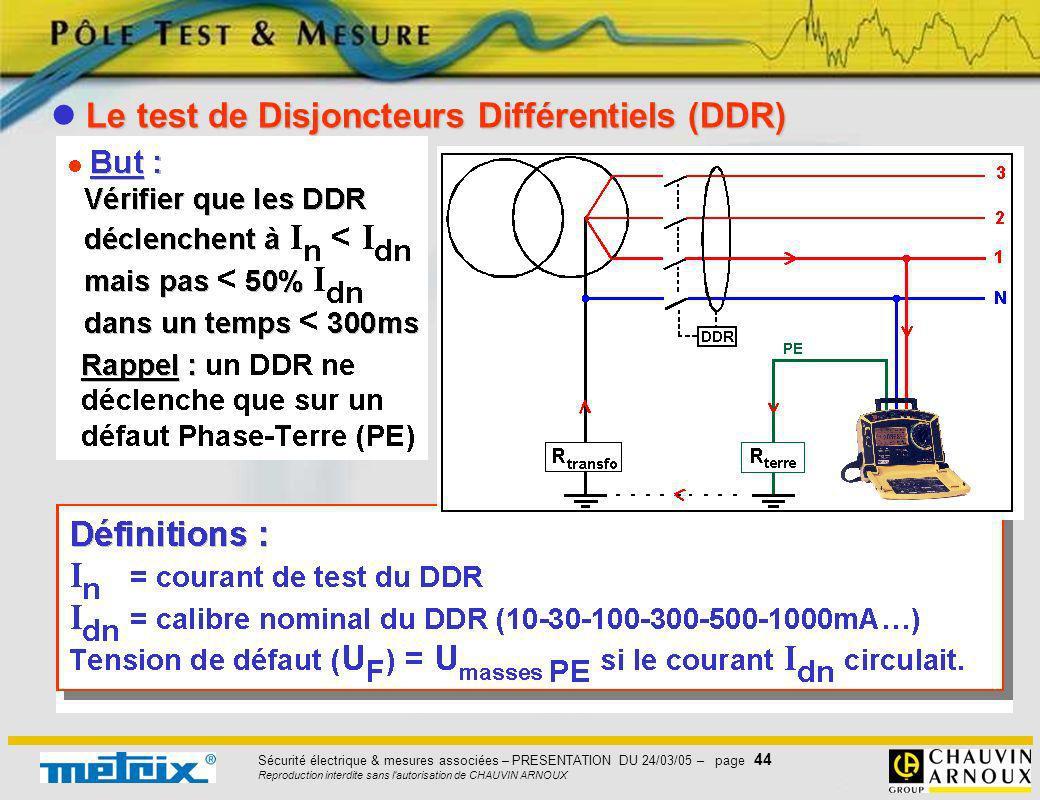 Sécurité électrique & mesures associées – PRESENTATION DU 24/03/05 – page 44 Reproduction interdite sans l'autorisation de CHAUVIN ARNOUX Le test de D