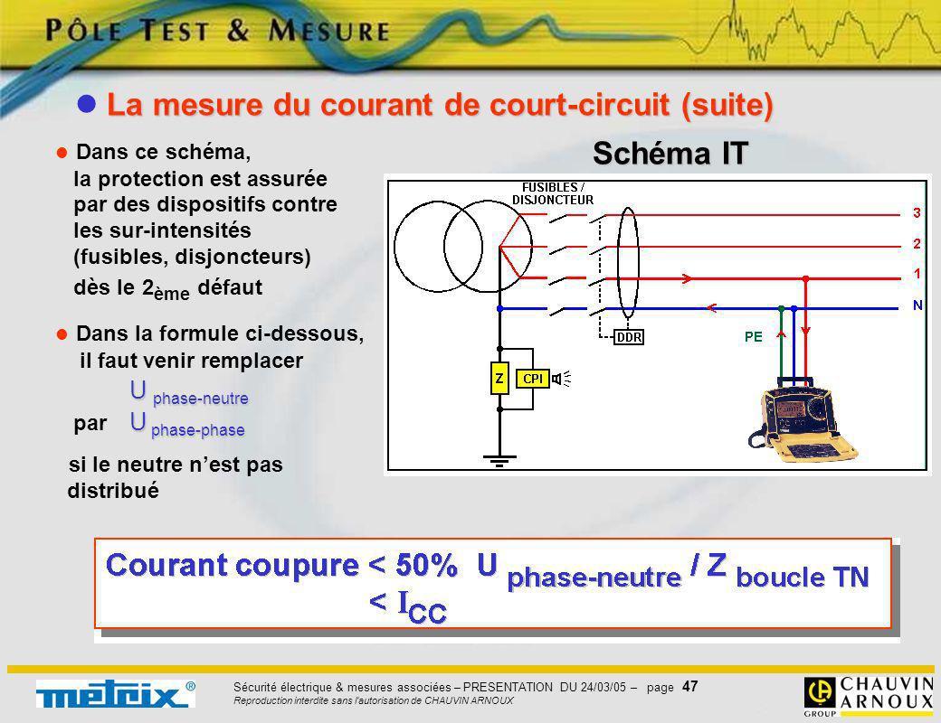 Sécurité électrique & mesures associées – PRESENTATION DU 24/03/05 – page 47 Reproduction interdite sans l'autorisation de CHAUVIN ARNOUX Dans ce sché
