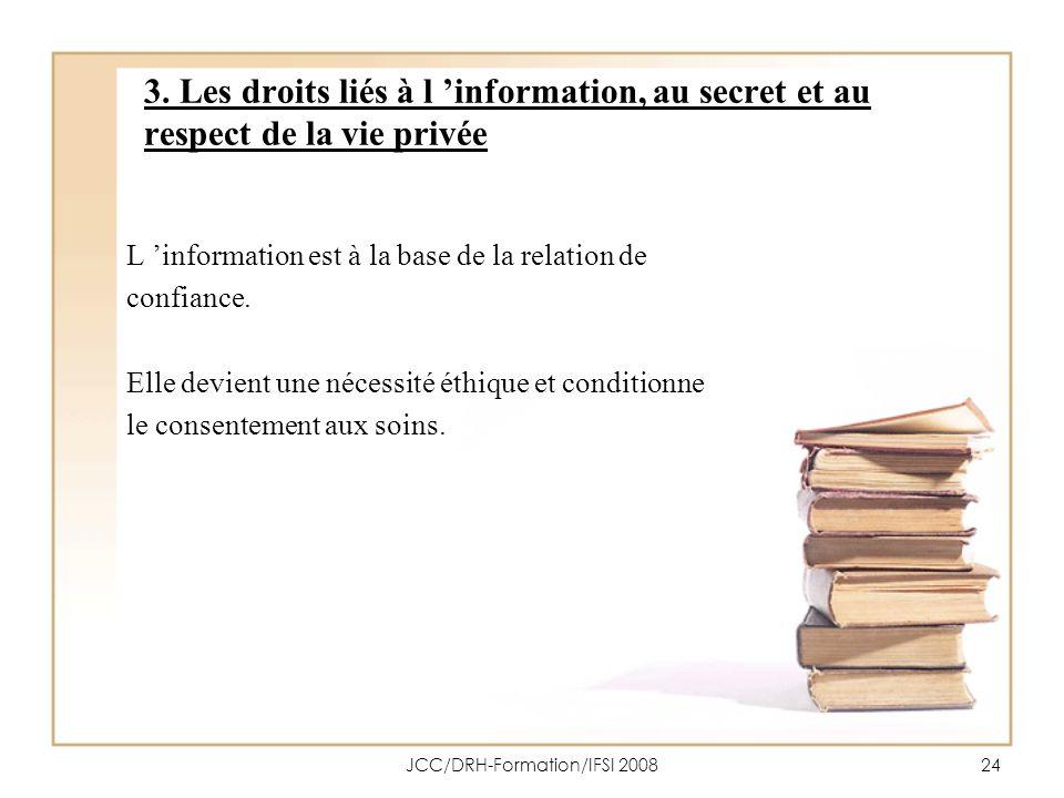 JCC/DRH-Formation/IFSI 200824 3. Les droits liés à l information, au secret et au respect de la vie privée L information est à la base de la relation