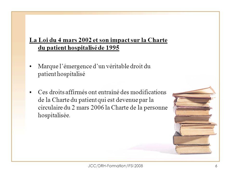 JCC/DRH-Formation/IFSI 20087 1.2 La Charte de la personne hospitalisée du 2 mars 2006 Une Charte peut se définir comme un ensemble de règles et principes fondamentaux qui font référence à un texte juridique.
