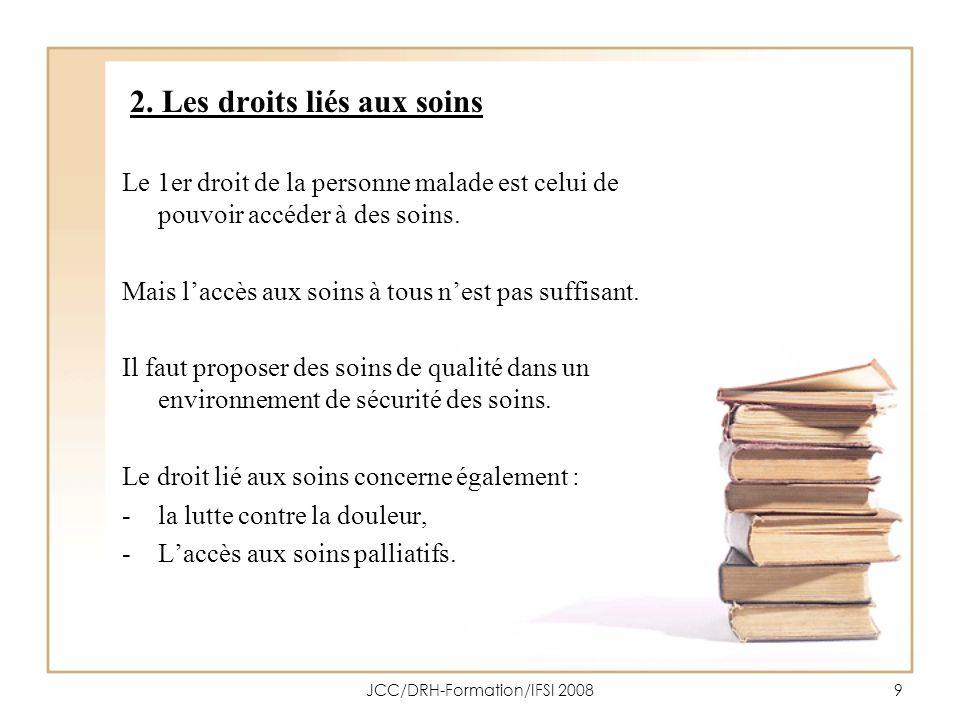 JCC/DRH-Formation/IFSI 200810 2.1 Le droit à laccès aux soins Art.