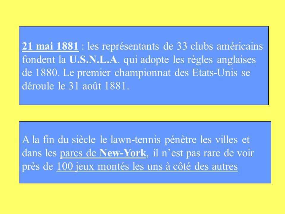 21 mai 1881 : les représentants de 33 clubs américains fondent la U.S.N.L.A. qui adopte les règles anglaises de 1880. Le premier championnat des Etats