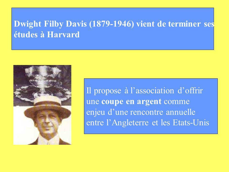 Dwight Filby Davis (1879-1946) vient de terminer ses études à Harvard Il propose à lassociation doffrir une coupe en argent comme enjeu dune rencontre