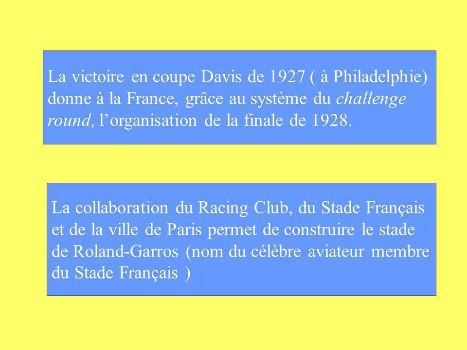 La victoire en coupe Davis de 1927 ( à Philadelphie) donne à la France, grâce au système du challenge round, lorganisation de la finale de 1928. La co