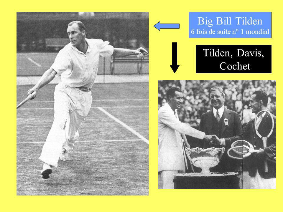 Big Bill Tilden 6 fois de suite n° 1 mondial Tilden, Davis, Cochet