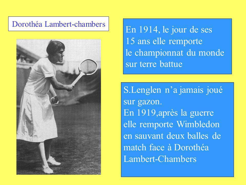 En 1914, le jour de ses 15 ans elle remporte le championnat du monde sur terre battue S.Lenglen na jamais joué sur gazon. En 1919,après la guerre elle
