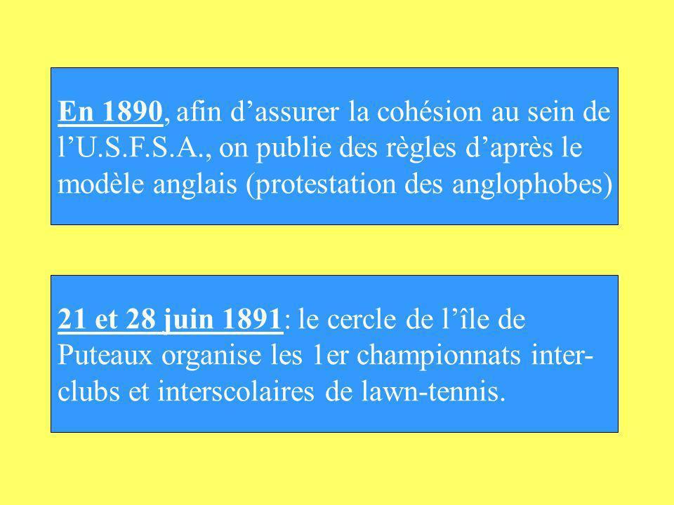 En 1890, afin dassurer la cohésion au sein de lU.S.F.S.A., on publie des règles daprès le modèle anglais (protestation des anglophobes) 21 et 28 juin