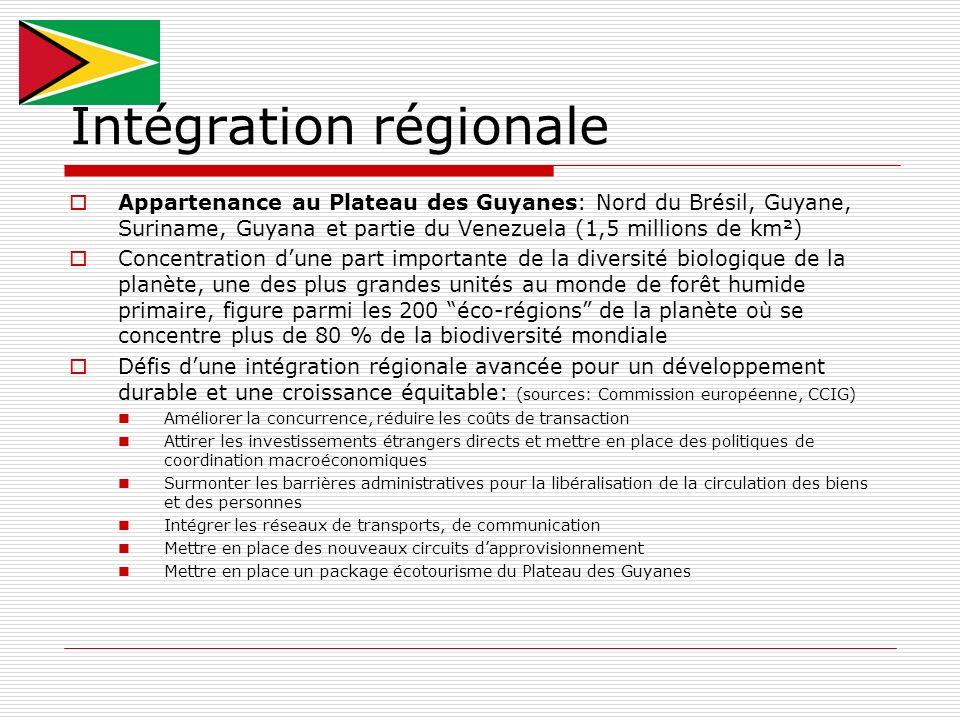 Intégration régionale Appartenance au Plateau des Guyanes: Nord du Brésil, Guyane, Suriname, Guyana et partie du Venezuela (1,5 millions de km²) Conce