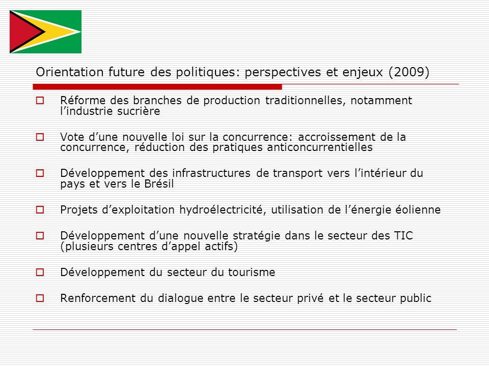 Orientation future des politiques: perspectives et enjeux (2009) Réforme des branches de production traditionnelles, notamment lindustrie sucrière Vot