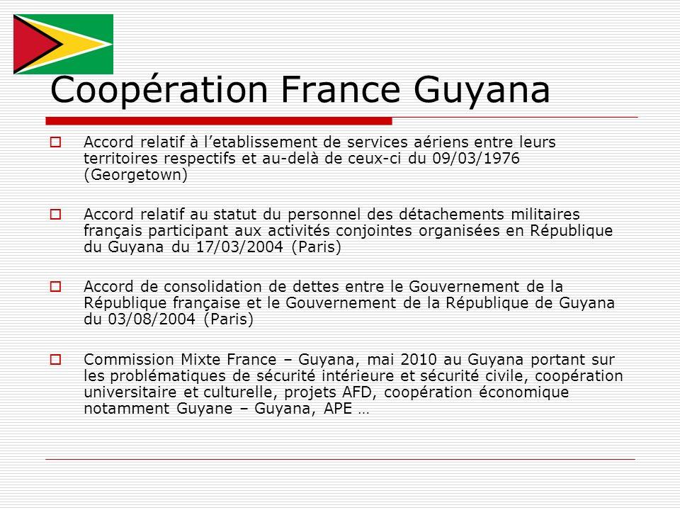 Coopération France Guyana Accord relatif à letablissement de services aériens entre leurs territoires respectifs et au-delà de ceux-ci du 09/03/1976 (