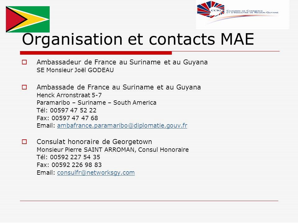 Organisation et contacts MAE Ambassadeur de France au Suriname et au Guyana SE Monsieur Joël GODEAU Ambassade de France au Suriname et au Guyana Henck