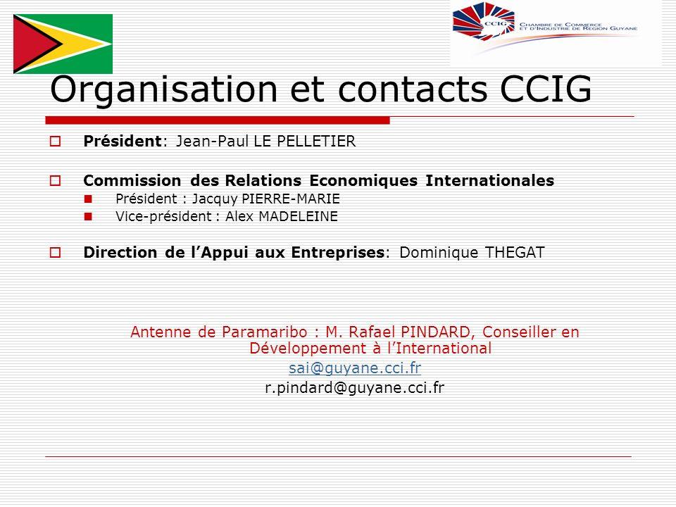 Organisation et contacts CCIG Président: Jean-Paul LE PELLETIER Commission des Relations Economiques Internationales Président : Jacquy PIERRE-MARIE V