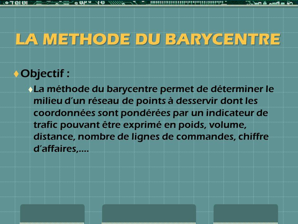 Objectif : La méthode du barycentre permet de déterminer le milieu dun réseau de points à desservir dont les coordonnées sont pondérées par un indicateur de trafic pouvant être exprimé en poids, volume, distance, nombre de lignes de commandes, chiffre daffaires,….