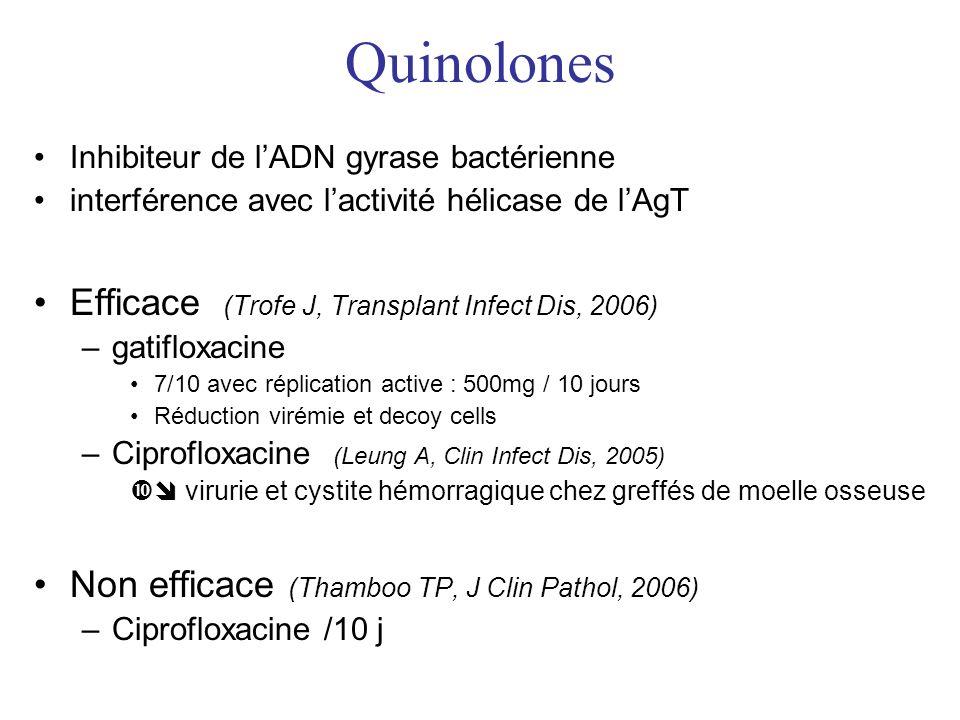 Quinolones Inhibiteur de lADN gyrase bactérienne interférence avec lactivité hélicase de lAgT Efficace (Trofe J, Transplant Infect Dis, 2006) –gatifloxacine 7/10 avec réplication active : 500mg / 10 jours Réduction virémie et decoy cells –Ciprofloxacine (Leung A, Clin Infect Dis, 2005) virurie et cystite hémorragique chez greffés de moelle osseuse Non efficace (Thamboo TP, J Clin Pathol, 2006) –Ciprofloxacine /10 j