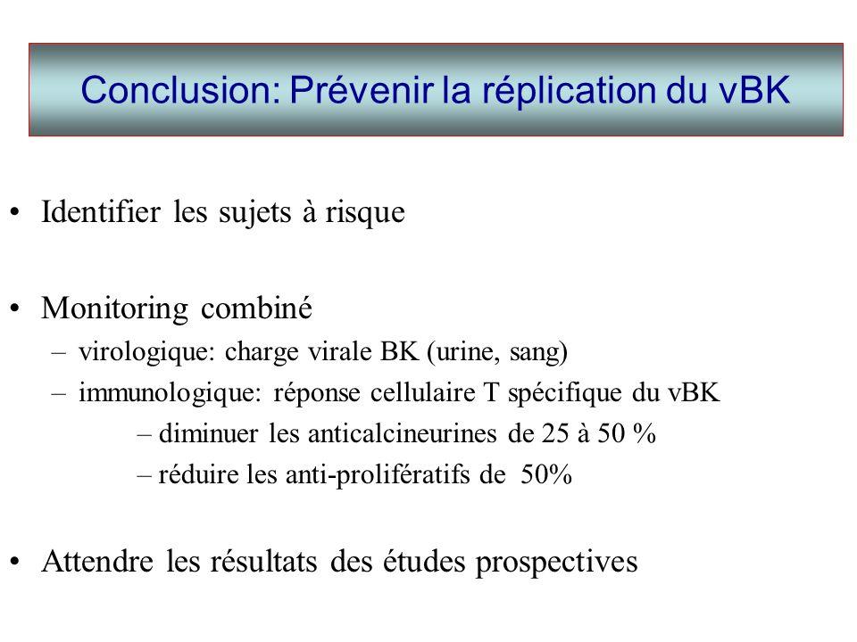 Identifier les sujets à risque Monitoring combiné –virologique: charge virale BK (urine, sang) –immunologique: réponse cellulaire T spécifique du vBK –diminuer les anticalcineurines de 25 à 50 % –réduire les anti-prolifératifs de 50% Attendre les résultats des études prospectives Conclusion: Prévenir la réplication du vBK