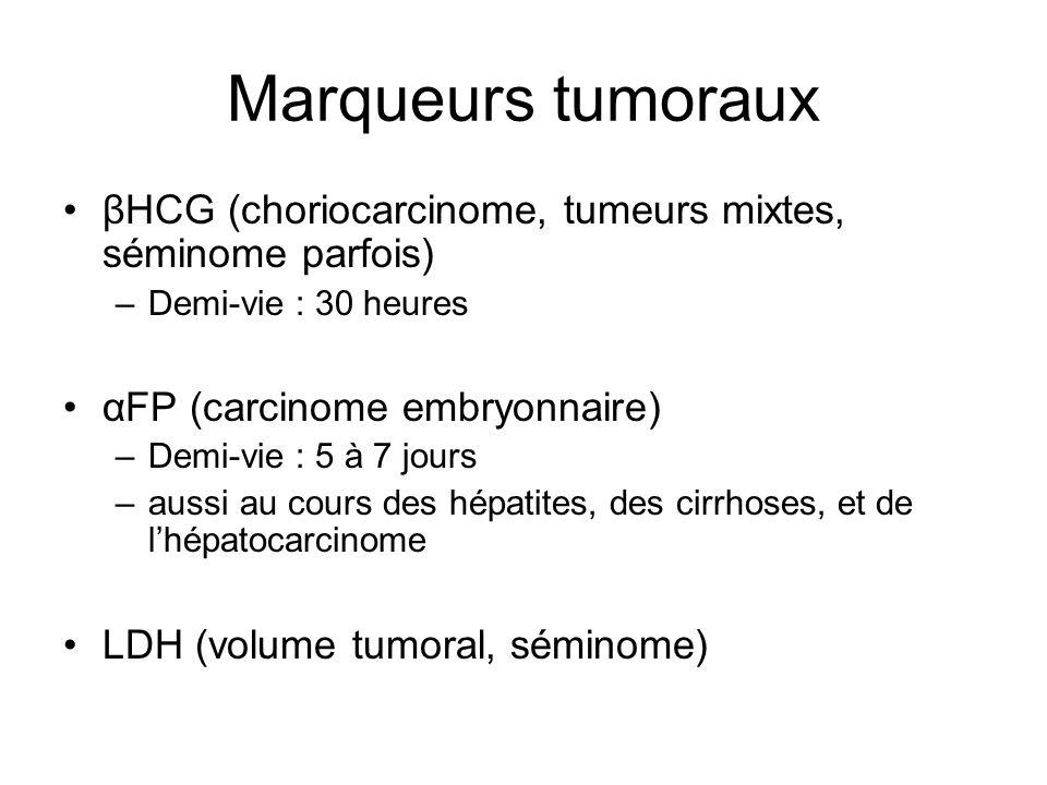 Marqueurs tumoraux βHCG (choriocarcinome, tumeurs mixtes, séminome parfois) –Demi-vie : 30 heures αFP (carcinome embryonnaire) –Demi-vie : 5 à 7 jours