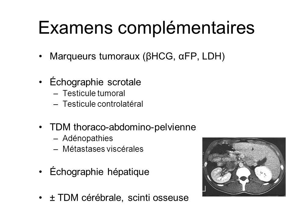 Examens complémentaires Marqueurs tumoraux (βHCG, αFP, LDH) Échographie scrotale –Testicule tumoral –Testicule controlatéral TDM thoraco-abdomino-pelv