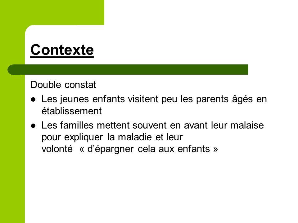 Contexte Double constat Les jeunes enfants visitent peu les parents âgés en établissement Les familles mettent souvent en avant leur malaise pour expliquer la maladie et leur volonté « dépargner cela aux enfants »