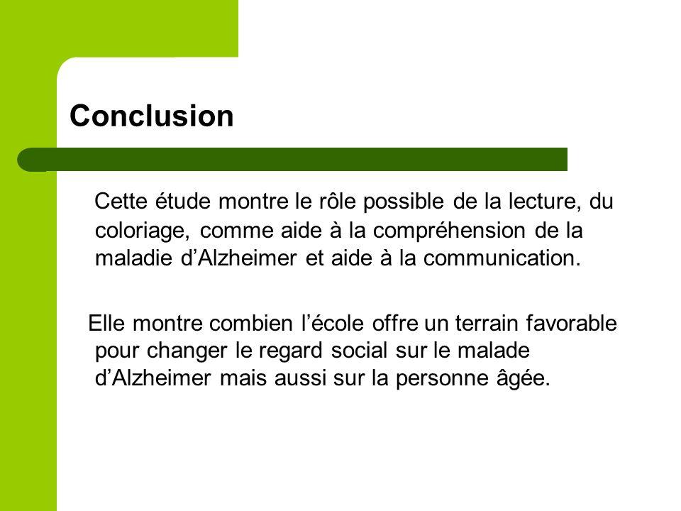Conclusion Cette étude montre le rôle possible de la lecture, du coloriage, comme aide à la compréhension de la maladie dAlzheimer et aide à la communication.