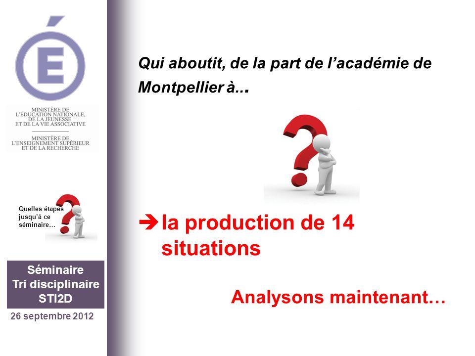 26 septembre 2012 Séminaire Tri disciplinaire STI2D Quelles étapes jusquà ce séminaire… Production de 14 situations Analysons maintenant… Exemple 1 : impédance.