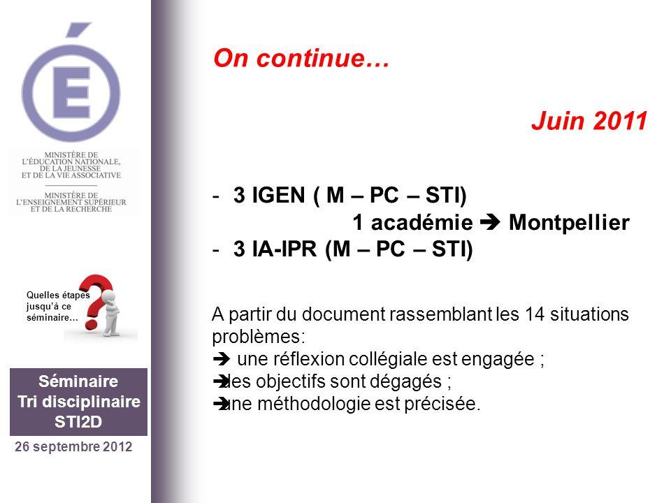 26 septembre 2012 Séminaire Tri disciplinaire STI2D Quelles étapes jusquà ce séminaire… On continue… Septembre 2011 1 académie Montpellier -Un lycée (Dhuoda à Nîmes) -8 enseignants de létablissement (2M+3PC+3STI) Et nous… Les travaux tri disciplinaires commencent…