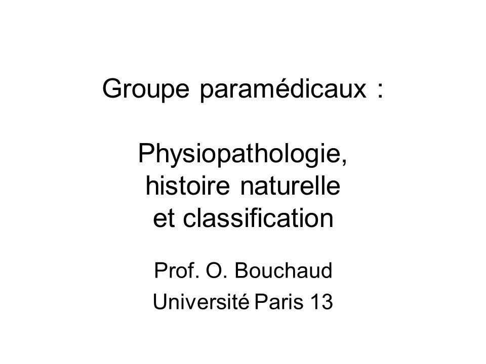 Groupe paramédicaux : Physiopathologie, histoire naturelle et classification Prof. O. Bouchaud Université Paris 13