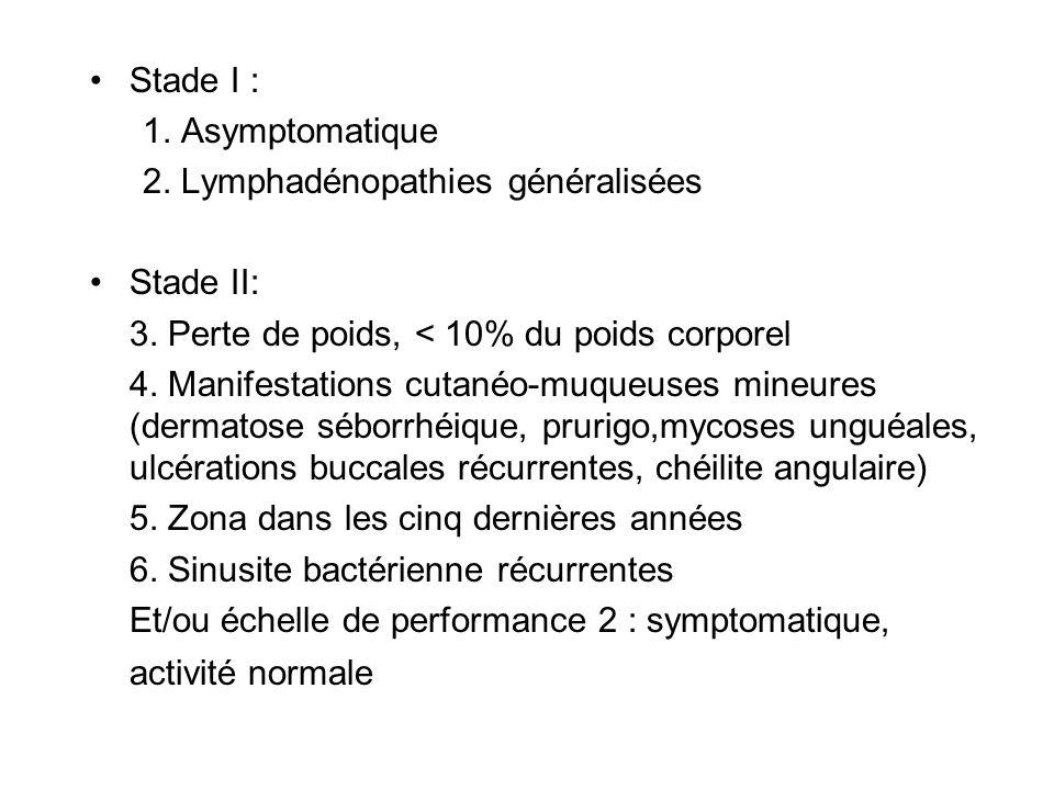 Stade I : 1. Asymptomatique 2. Lymphadénopathies généralisées Stade II: 3. Perte de poids, < 10% du poids corporel 4. Manifestations cutanéo-muqueuses