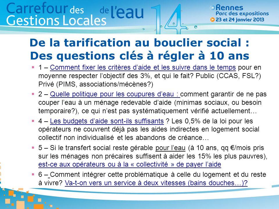 De la tarification au bouclier social : Des questions clés à régler à 10 ans 1 – Comment fixer les critères daide et les suivre dans le temps pour en