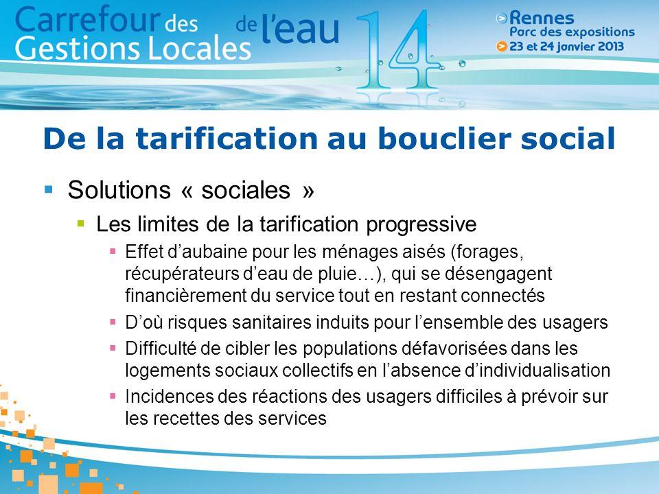 De la tarification au bouclier social Solutions « sociales » Les limites de la tarification progressive Effet daubaine pour les ménages aisés (forages