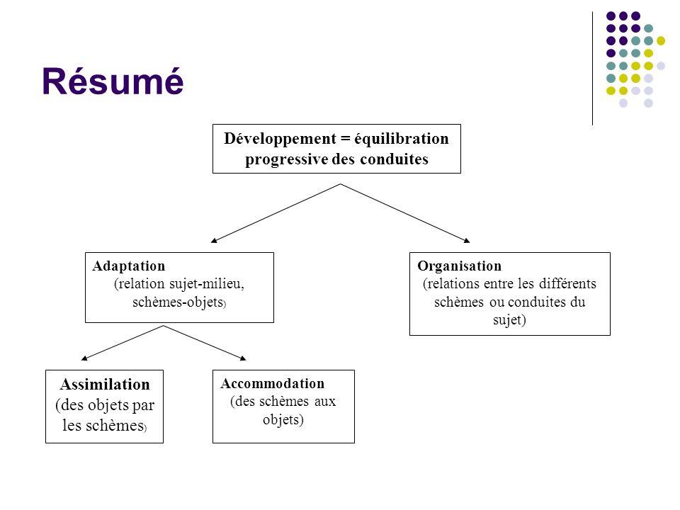 Résumé Adaptation (relation sujet-milieu, schèmes-objets ) Organisation (relations entre les différents schèmes ou conduites du sujet) Assimilation (d