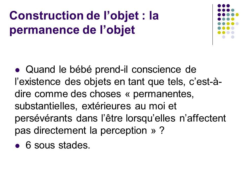 Construction de lobjet : la permanence de lobjet Quand le bébé prend-il conscience de lexistence des objets en tant que tels, cest-à- dire comme des c