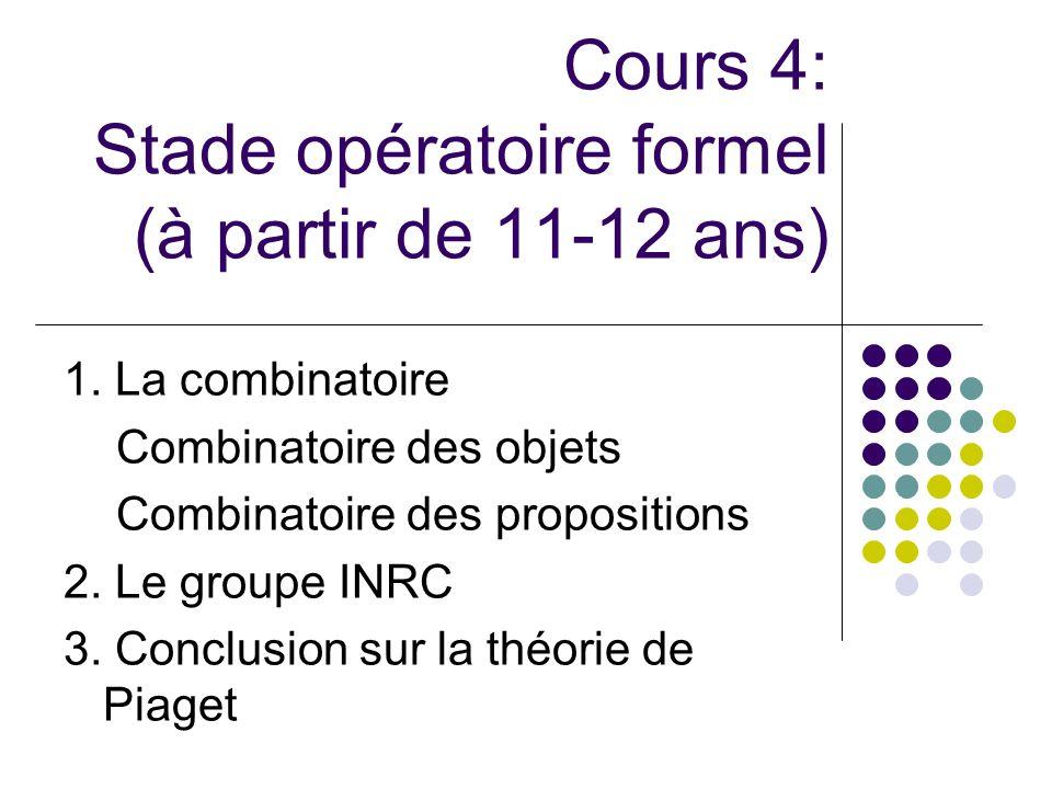 Cours 4: Stade opératoire formel (à partir de 11-12 ans) 1. La combinatoire Combinatoire des objets Combinatoire des propositions 2. Le groupe INRC 3.