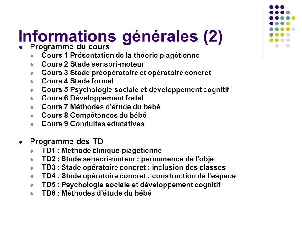 Informations générales (2) Programme du cours Cours 1 Présentation de la théorie piagétienne Cours 2 Stade sensori-moteur Cours 3 Stade préopératoire