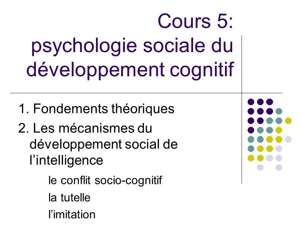 Cours 5: psychologie sociale du développement cognitif 1. Fondements théoriques 2. Les mécanismes du développement social de lintelligence le conflit