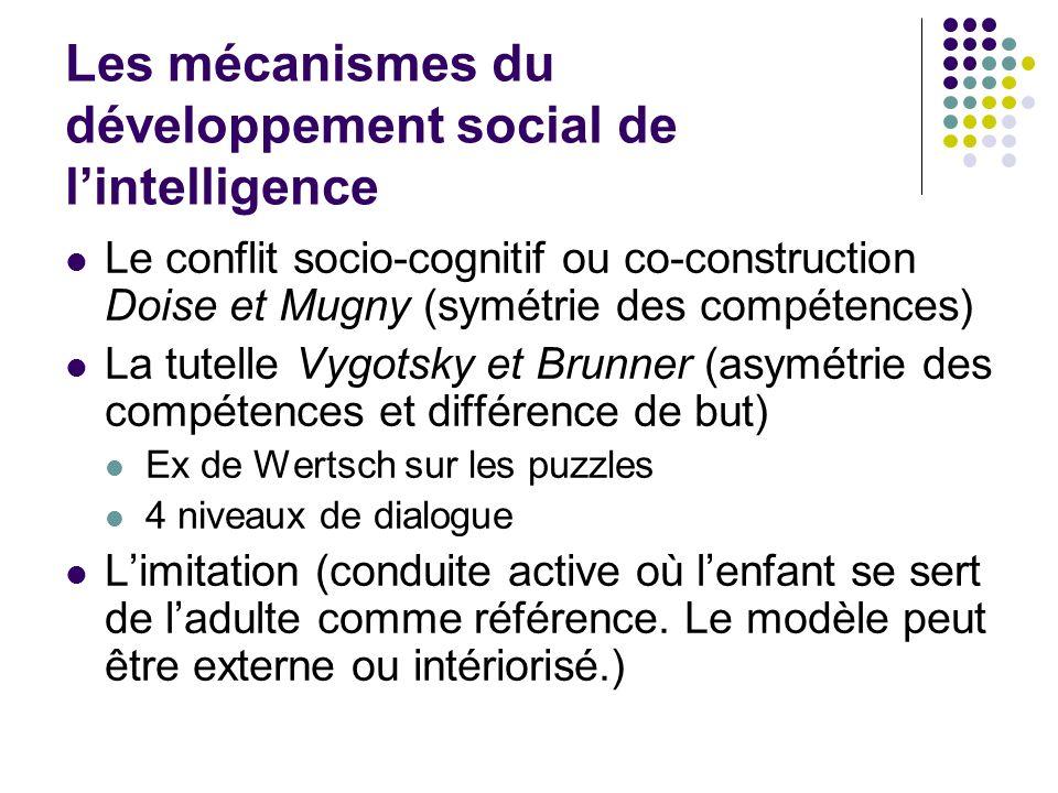 Les mécanismes du développement social de lintelligence Le conflit socio-cognitif ou co-construction Doise et Mugny (symétrie des compétences) La tute