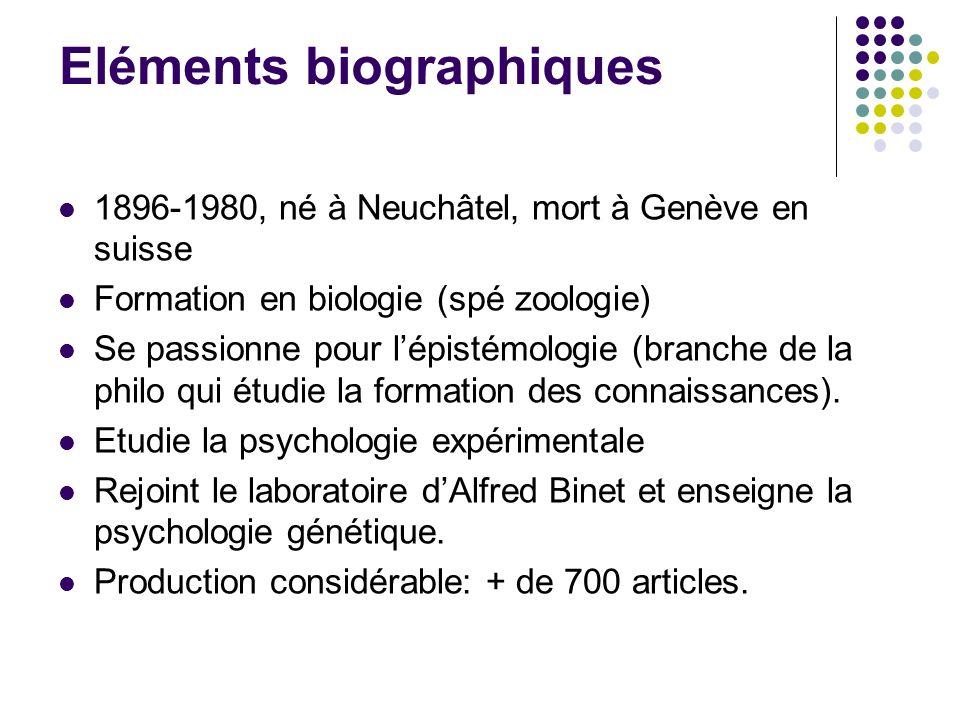 Eléments biographiques 1896-1980, né à Neuchâtel, mort à Genève en suisse Formation en biologie (spé zoologie) Se passionne pour lépistémologie (branc