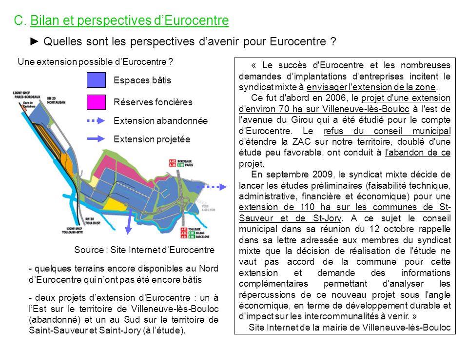 C. Bilan et perspectives dEurocentre Quelles sont les perspectives davenir pour Eurocentre ? Une extension possible dEurocentre ? Source : Site Intern