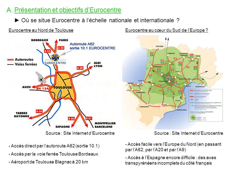 A. Présentation et objectifs dEurocentre Où se situe Eurocentre à léchelle nationale et internationale ? Eurocentre au Nord de Toulouse Source : Site