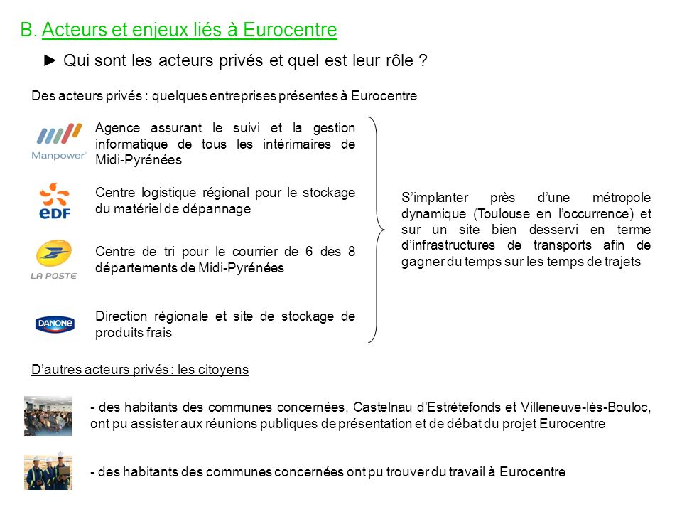 B. Acteurs et enjeux liés à Eurocentre Qui sont les acteurs privés et quel est leur rôle ? Des acteurs privés : quelques entreprises présentes à Euroc