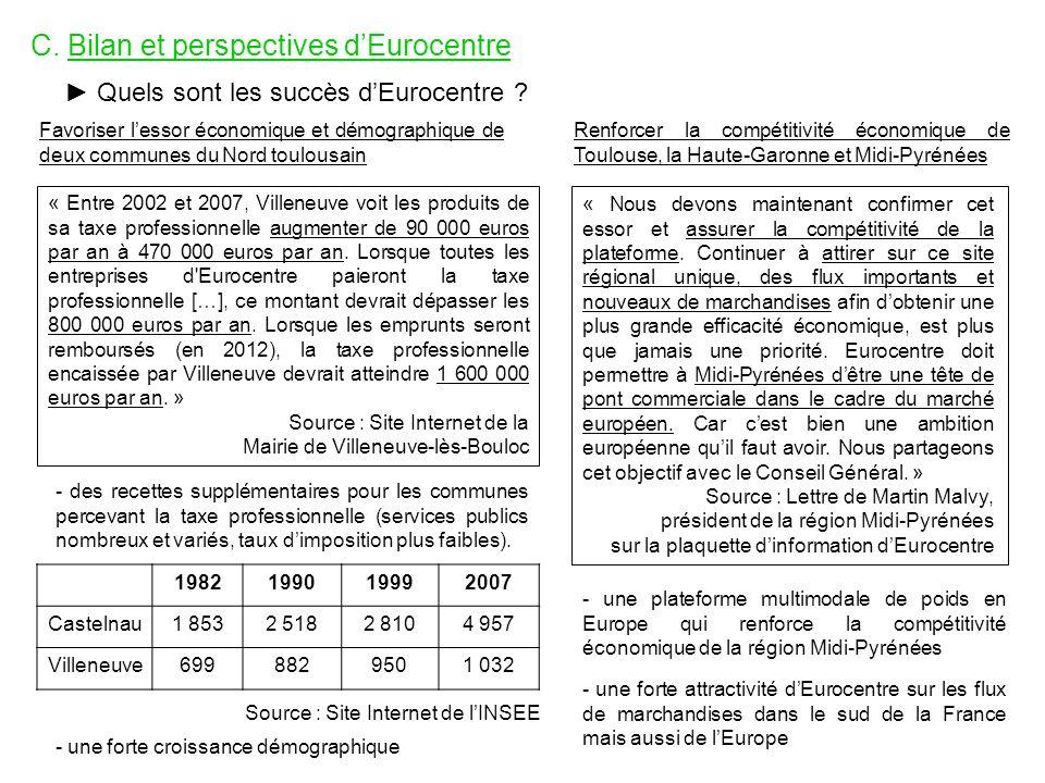 C. Bilan et perspectives dEurocentre Quels sont les succès dEurocentre ? Favoriser lessor économique et démographique de deux communes du Nord toulous