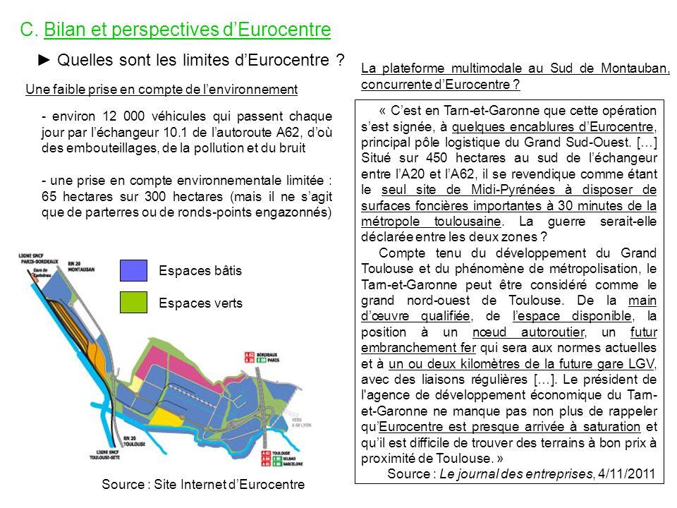 C. Bilan et perspectives dEurocentre Quelles sont les limites dEurocentre ? Une faible prise en compte de lenvironnement - environ 12 000 véhicules qu