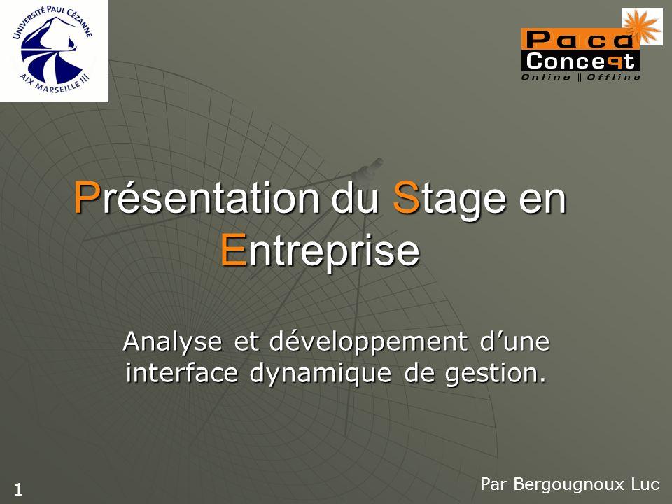 Présentation du Stage en Entreprise Analyse et développement dune interface dynamique de gestion. Par Bergougnoux Luc 1