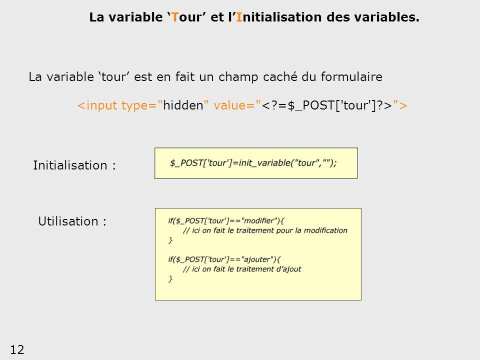 12 La variable Tour et lInitialisation des variables. Initialisation : Utilisation : La variable tour est en fait un champ caché du formulaire